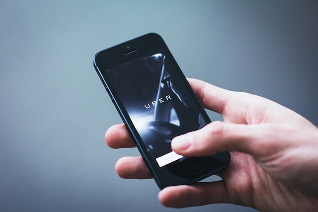 Uber application on iPhone